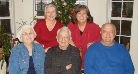 Donna with her parents and siblings. Christmas 2012